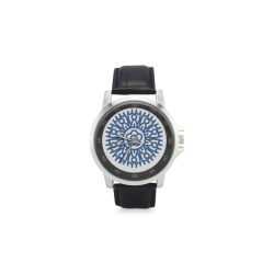 mandala indigo chakra, adjnia atrae la capacidad de pensar y tomar decisiones en tu vida, Unisex Stainless Steel Leather Strap Watch(Model 202)