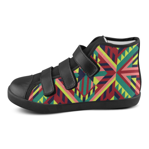 Modern Geometric Pattern Velcro High Top Canvas Kid's Shoes (Model 015)