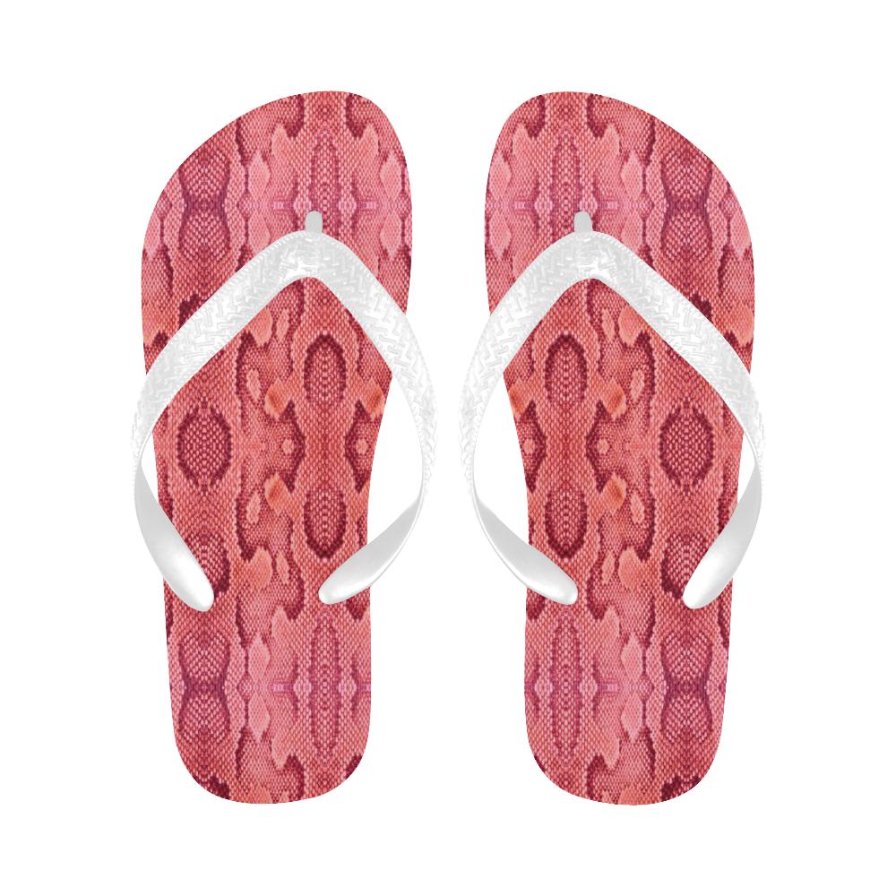 pink snake Flip Flops for Men/Women (Model 040)