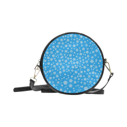 Christmas White Snowflakes on Light Blue Round Sling Bag (Model 1647)