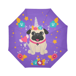 Fawn Pug Unicorn Auto-Foldable Umbrella (Model U04)