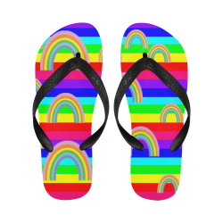 rainbowsspatternsstripesflipdflops Flip Flops for Men/Women (Model 040)