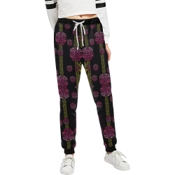 wild flowers on black Women's All Over Print Sweatpants (Model L11)
