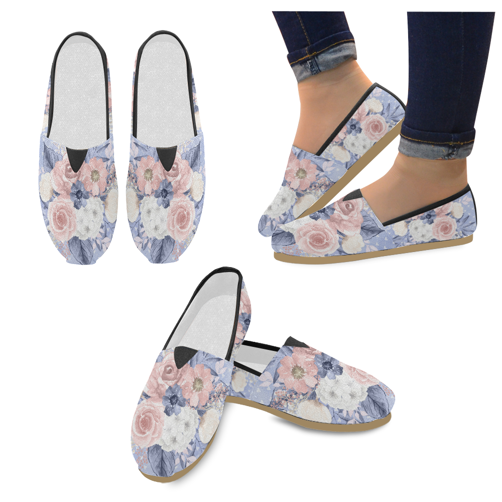 Pink Navy Floral Shoes, Watercolor Flower Unisex Casual Shoes (Model 004)