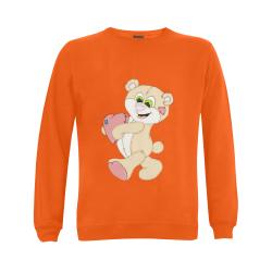 Patchwork Heart Teddy Orange Gildan Crewneck Sweatshirt(NEW) (Model H01)