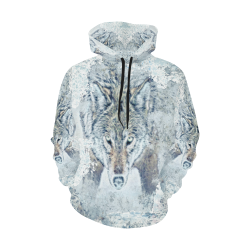 Snow Wolf All Over Print Hoodie for Women (USA Size) (Model H13)