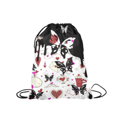 "Valentine's Day LOVE HEARTS pattern red pink Medium Drawstring Bag Model 1604 (Twin Sides) 13.8""(W) * 18.1""(H)"
