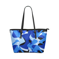 Camouflage Abstract Blue and Black Leather Tote Bag/Small (Model 1651)