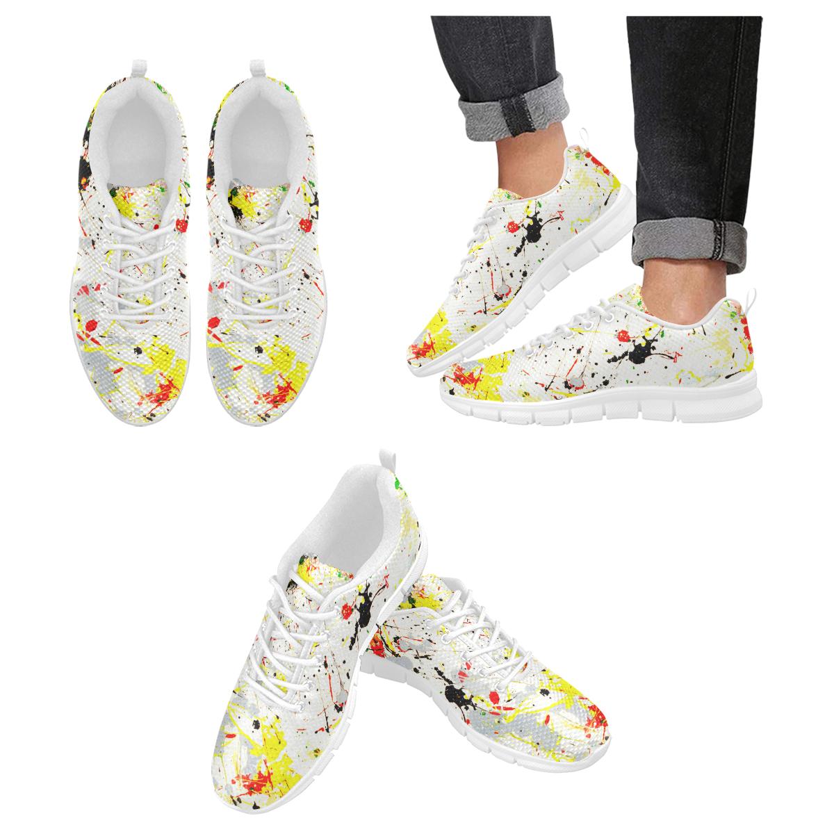 Yellow & Black Paint Splatter- White Men's Breathable Running Shoes (Model 055)