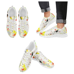 Yellow & Black Paint Splatter- White Men's Breathable Running Shoes (Model 055)