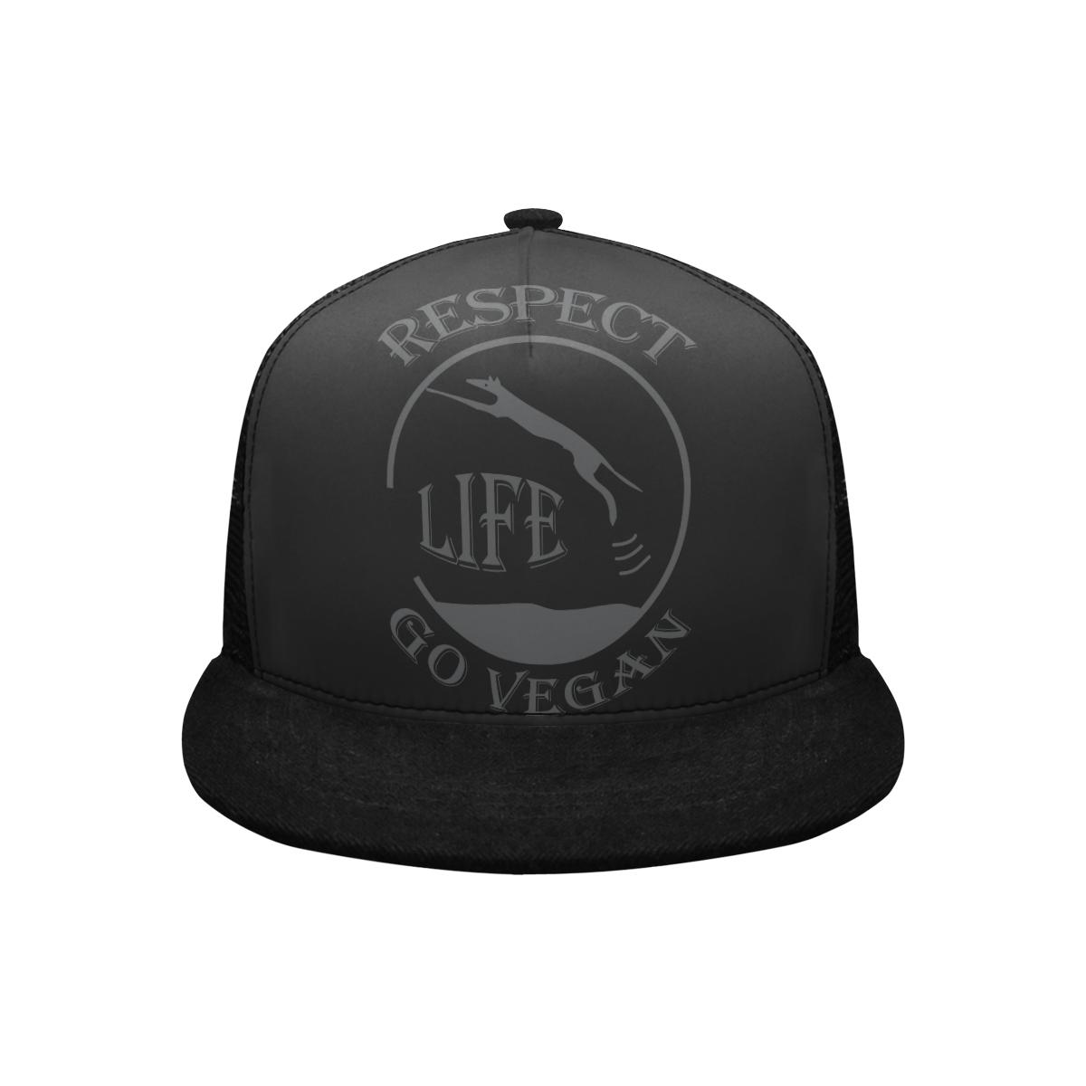 RESPECT LIFE GO VEGAN BASECAP Trucker Hat H (Front Panel Customization)