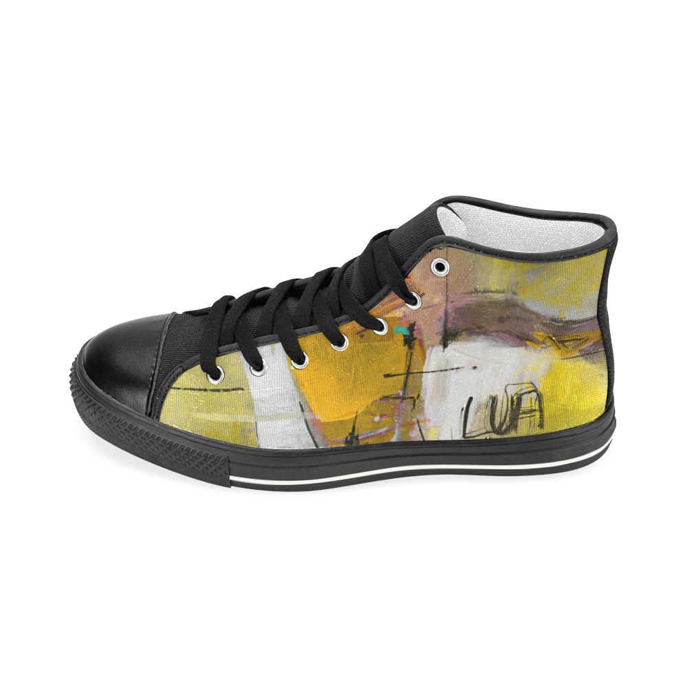 Lua yellow Men's Classic High Top Canvas Shoes (Model 017)