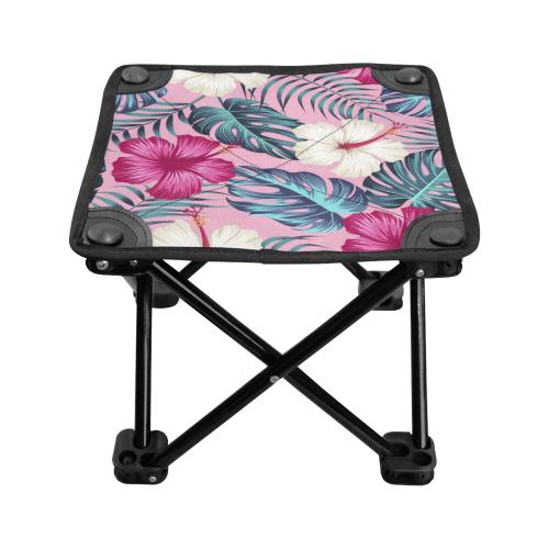 Tropical Pink Hibiscus Folding Fishing Stool