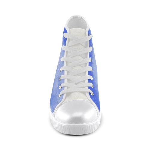 Blue Clouds white Men's High Top Canvas Shoes (Model 002)