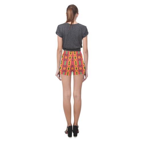 Tribal shapes in retro colors (2) Briseis Skinny Shorts (Model L04)