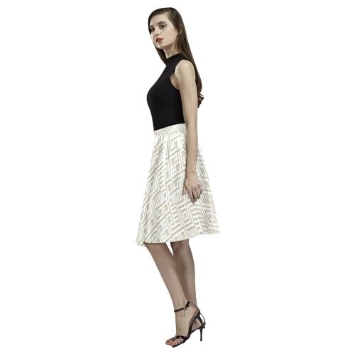 White 3D Geometric Pattern Melete Pleated Midi Skirt (Model D15)