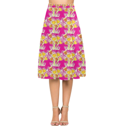 Pink Crepe Skirt With Yellow Poppies Aoede Crepe Skirt (Model D16)