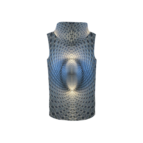Hexagon Illusion All Over Print Sleeveless Zip Up Hoodie for Women (Model H16)