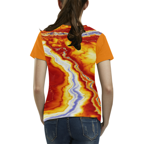 Marble Geode All Over Print T-Shirt for Women (USA Size) (Model T40)