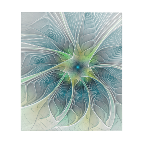 "Floral Fantasy Abstract Blue Green Fractal Art Flower Quilt 60""x70"""