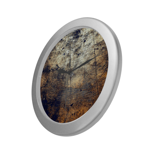 Silver Frame Wall Clock Abstract Modern Art Wall Accessory Silver Color Wall Clock