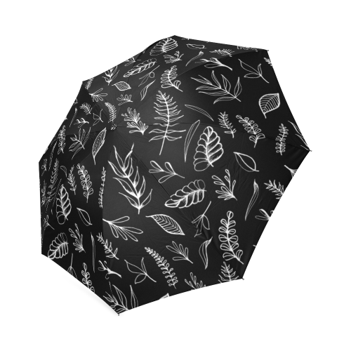 BLACK DANCING LEAVES Foldable Umbrella (Model U01)