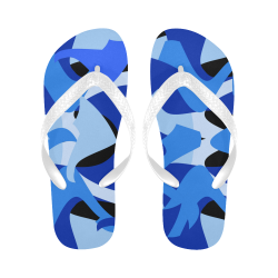 Camouflage Abstract Blue and Black Flip Flops for Men/Women (Model 040)