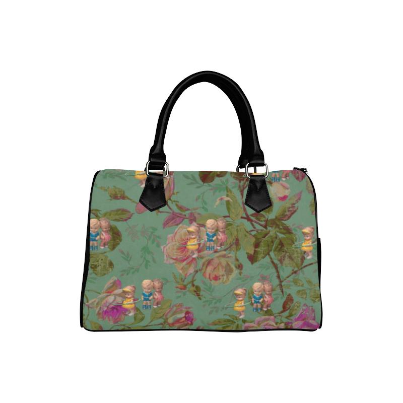 Hooping in The Rose Garden Boston Handbag (Model 1621)