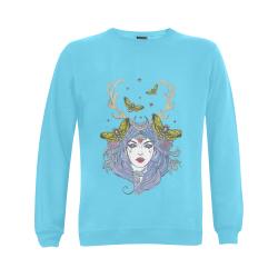 Goddess Sun Moon Earth Aqua Gildan Crewneck Sweatshirt(NEW) (Model H01)