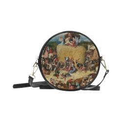 Hieronymus Bosch-The Haywain Triptych 2 Round Sling Bag (Model 1647)