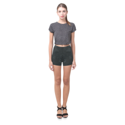 Black Crackling Pattern Briseis Skinny Shorts (Model L04)