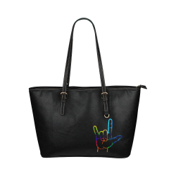Rainbow Burst ASL I Love You Leather Tote Bag/Large (Model 1651)