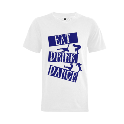 Break Dancing Blue Men's V-Neck T-shirt  Big Size(USA Size) (Model T10)