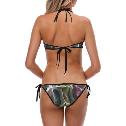 Abstract Wavy Mesh Custom Halter & Side Tie Bikini Swimsuit (Model S06)