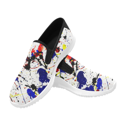 Blue & Red Paint Splatter (Black) Orion Slip-on Men's Canvas Sneakers (Model 042)