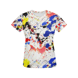 Blue and Red Paint Splatter All Over Print T-Shirt for Women (USA Size) (Model T40)