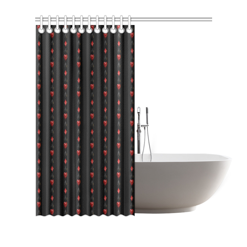 "Las Vegas  Black and Red Casino Poker Card Shapes on Black Shower Curtain 66""x72"""
