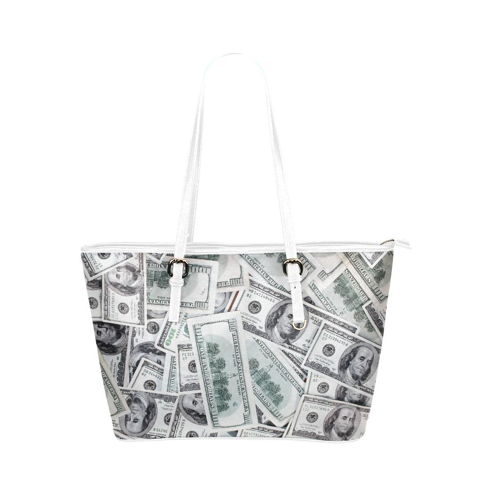 Cash Money / Hundred Dollar Bills Leather Tote Bag/Large (Model 1651)
