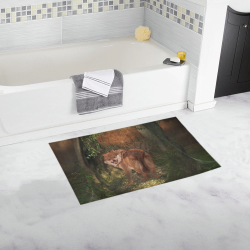 Awesome wolf in the night Bath Rug 16''x 28''