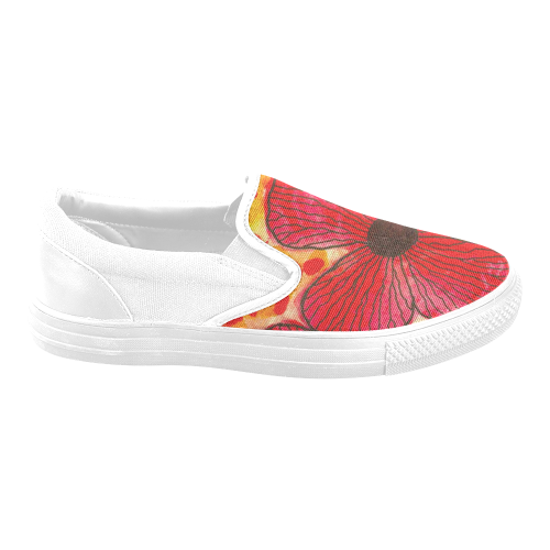 flowers splatter canvas slip on Women's Unusual Slip-on Canvas Shoes (Model 019)