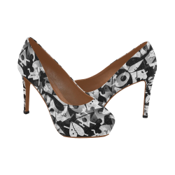 Black and White Pop Art by Nico Bielow Women's High Heels (Model 044)