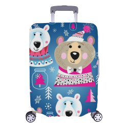 """Happy Holidays Bears Pattern Luggage Cover/Large 26""""-28"""""""