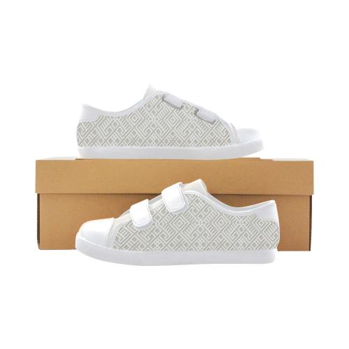 White 3D Geometric Pattern Velcro Canvas Kid's Shoes (Model 008)