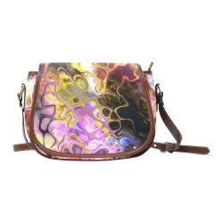 Colorful Marble Design Saddle Bag/Small (Model 1649) Full Customization