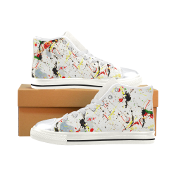 Yellow & Black Paint Splatter - White High Top Canvas Shoes for Kid (Model 017)