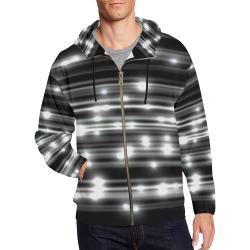 LIT (Black/White) All Over Print Full Zip Hoodie for Men (Model H14)