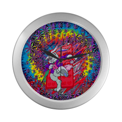 Tie Dye White Rabbit Inspired Art Running Late Design Silver Color Wall Clock