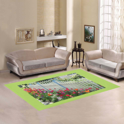 Tulips Garden Along White Picket Fence Floral Photography Light Green Border area rug Area Rug7'x5'