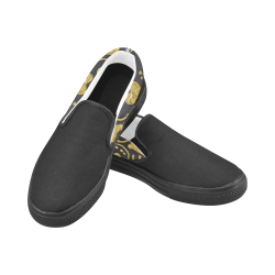 Gold Heart Women's Slip-on Canvas Shoes (Model 019)