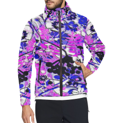 floral abstract in blue and pink Unisex All Over Print Windbreaker (Model H23)